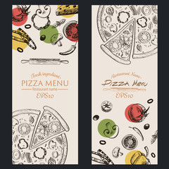 pizza food menu cafe  brochure. drawing template.
