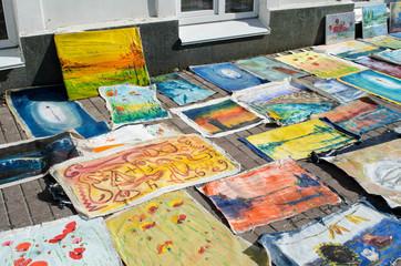 KIEV (KYIV), UKRAINE - August 25: The tourist souvenirs market