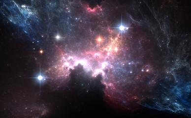 Purple space nebula with light stars