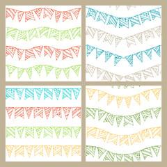 Set of doodles seamless patterns of garlands.