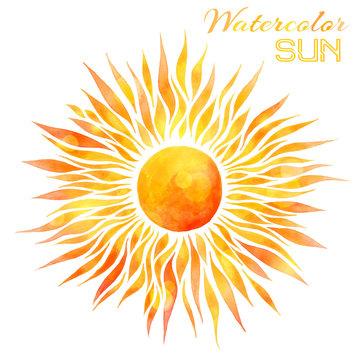 Watercolor sun vector illustration.