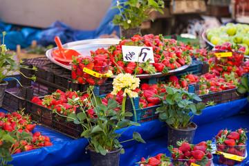 Strawberry on a street market