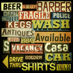 aged and worn vintage sign collection