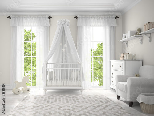 classic children room with cradle 3d rendering. Black Bedroom Furniture Sets. Home Design Ideas