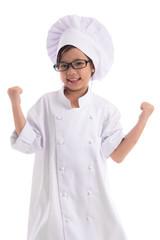 Little asian girl chef in uniform