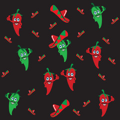 Peppers seamless pattern on black background