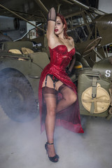 beautiful woman with pinup style of the Second World War, along