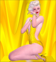 Blonde bombshell on gold and yellow background in a bikini.