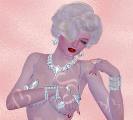 Blonde bombshell with diamond necklace, on pink glitter and diamond background.