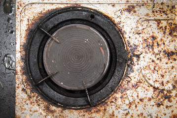 Close up of very dirty gas burner
