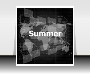 black and white abstract digital touch screen with summer word, abstract background