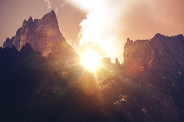 Wall Mural - Mont Blanc Massif Sunset