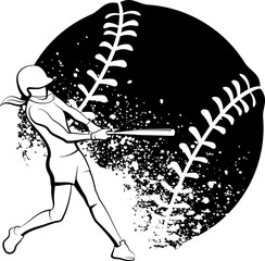 Girl Softball Batter with Stylized Splatter Ball Behind