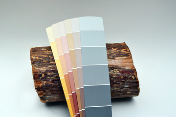 This is a picture showing several paint chips leaning on a colorful cedar log being used as inspiration to choose colors for home improvement.