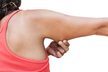 women show fat and scratch mark , wrinkle of armpit isolate back