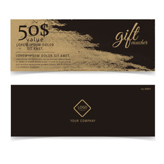 Gift voucher gold template or golden card
