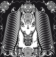 stylized patterned head horse black and white