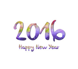 Happy New Year 2016 purple greeting card made in polygonal origami style