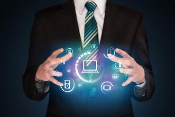 holding digital media icons