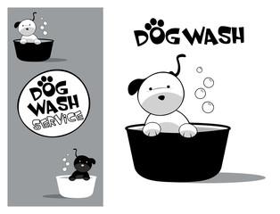 Logo design element. Dog Wash Service. Cute dog in a tub.
