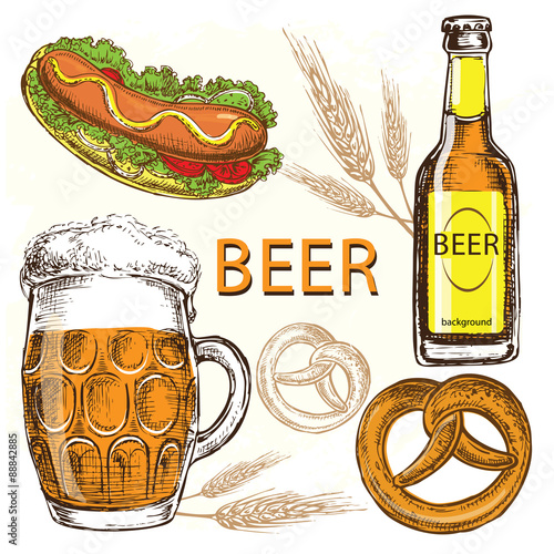 Hand Draw Illustration Beer Collection Stock Image And Royalty Free