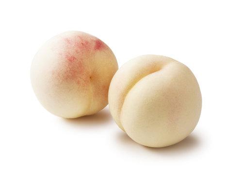fresh white peach on white background