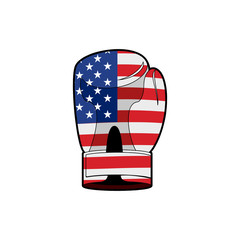 Boxing Glove with flag of USA. Sports accessory textured America