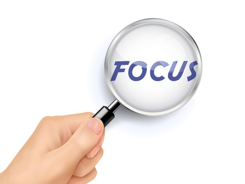 focus word showing through magnifying glass