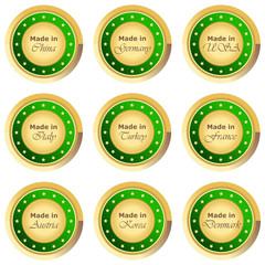 Runder Made in Buttons in grün auf weißem Hintergrund