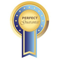 Runder Perfect Guarantee Button in blau auf weißem Hintergrund