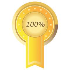 Runder 100% Button in gelb auf weißem Hintergrund