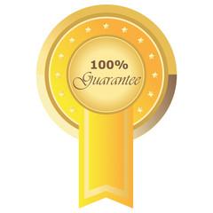 Runder 100% Guarantee Button in gelb auf weißem Hintergrund