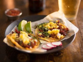 Sticker - al pastor street tacos with pineapple, radish and beer
