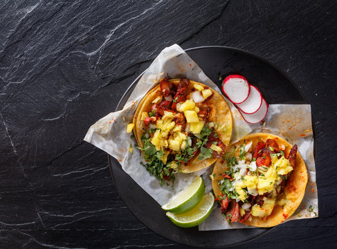 mexican al pastor street tacos shot from overhead