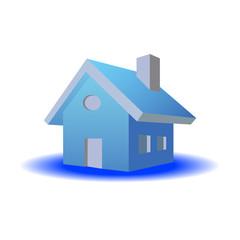 3D House Blue Color