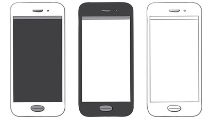 Mobile Phone Hand Drawn Vector Icon Set isolated on white background.