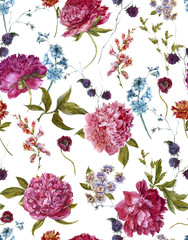 Watercolor Seamless Pattern with Burgundy Peonies in Vintage