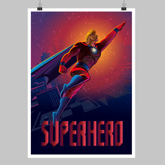 Superhero in action. Flying over night city. Poster layout