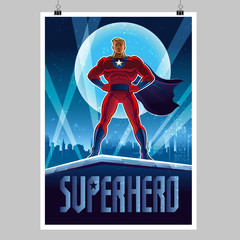 Superhero. Vector illustration on a background. Poster layout