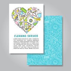 Two sides invitation card design with cleaning equipment illustr