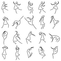 Set of twenty dancing abstract women