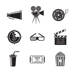 Cinema, movie icons set with -  projector, film strip, 3D