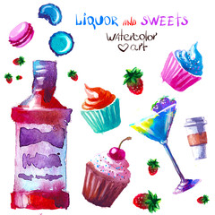 alcohol and sweets. watercolor