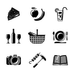 Set of monochrome picnic icons - basket, plate, spoon, sandwich