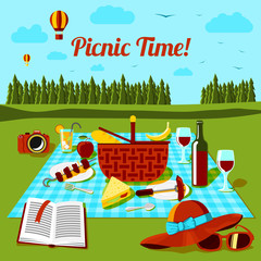 Picnic time poster with different food and drink on the cloth