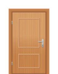 Wooden room door, closed. Isolated vector illustration on white background.