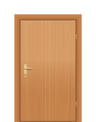 Wooden room door - to be opened as right hand reverse. Isolated vector illustration on white background.