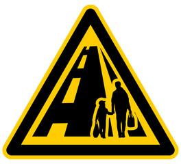 wso174 WarnSchildOrange - Danger from people on the road - german Gefahr durch Personen auf der Fahrbahn - g3836
