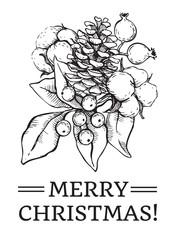 Vector Christmas hand drawn vintage illustration for xmas design