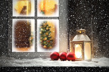 window sill of xmas time
